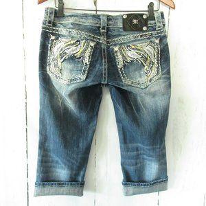 Miss Me Cuffed Capri Jeans Rhinestone Distressed